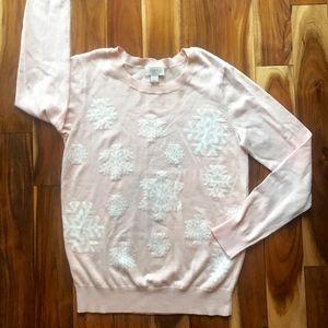 Ann Taylor LOFT Women's Pink Snowflake SWEATER M